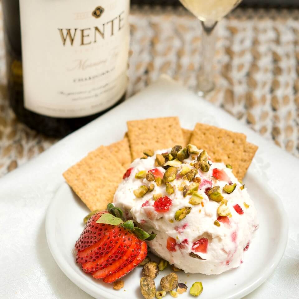 Easy Strawberry Goat Cheese Ball with Wente Vineyards